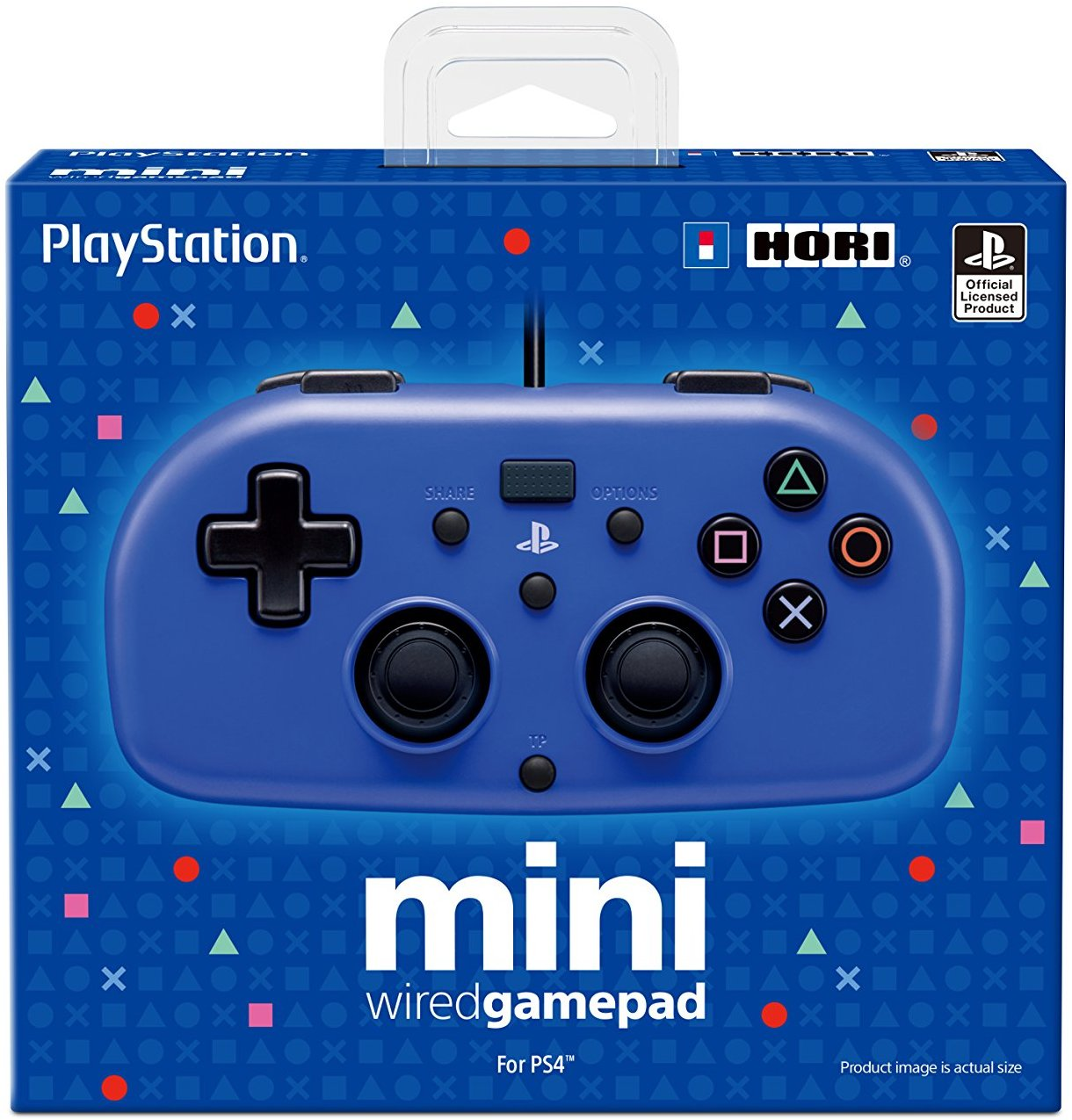 PS4: CONTROLLER - GENERIC - MINI HORI PAD - WIRED - BLUE (USED)